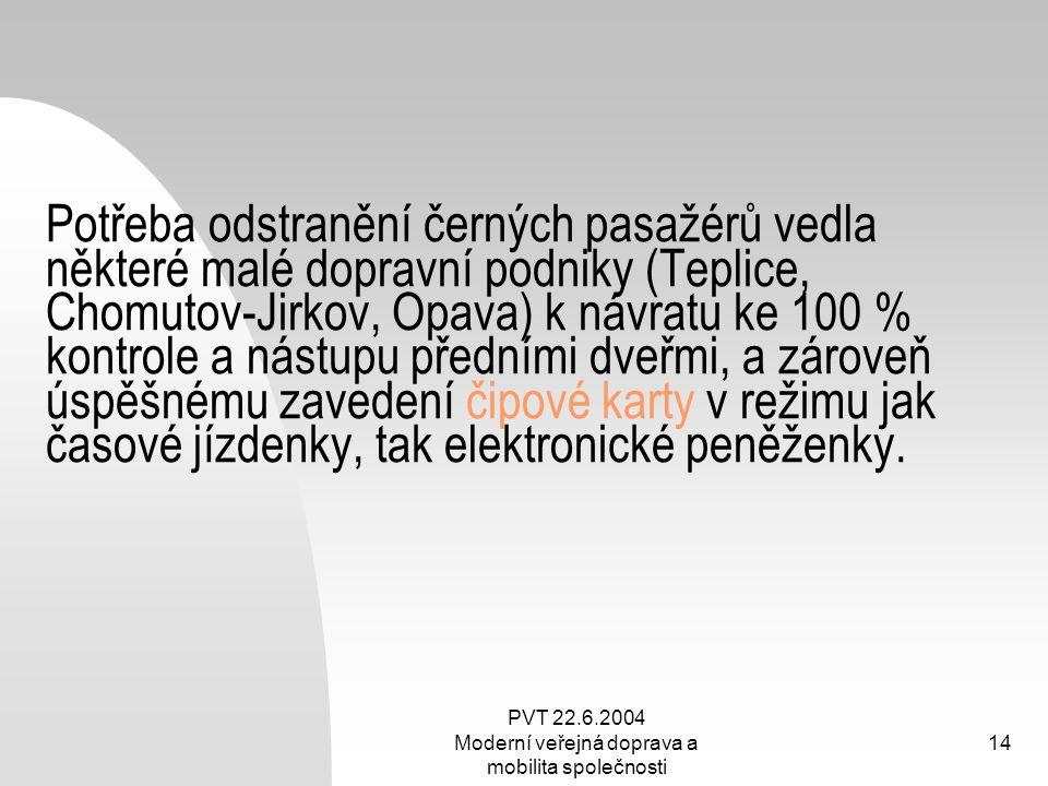 PVT 22.6.2004 Moderní veřejná doprava a mobilita společnosti 14 Potřeba odstranění černých pasažérů vedla některé malé dopravní podniky (Teplice, Chom