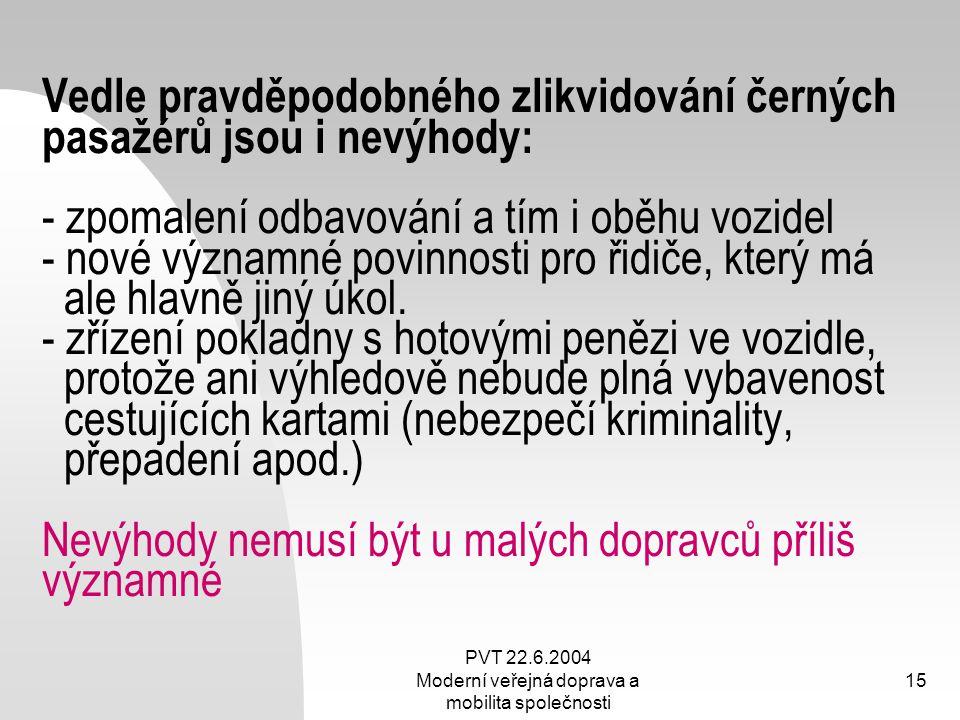 PVT 22.6.2004 Moderní veřejná doprava a mobilita společnosti 15 Vedle pravděpodobného zlikvidování černých pasažérů jsou i nevýhody: - zpomalení odbav