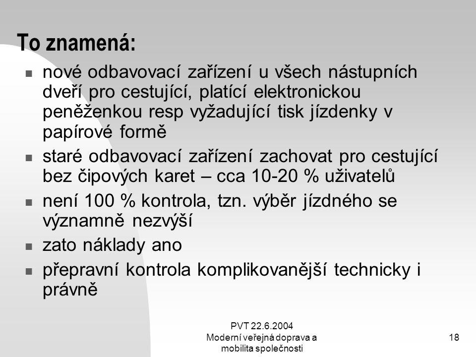 PVT 22.6.2004 Moderní veřejná doprava a mobilita společnosti 18 To znamená: nové odbavovací zařízení u všech nástupních dveří pro cestující, platící e