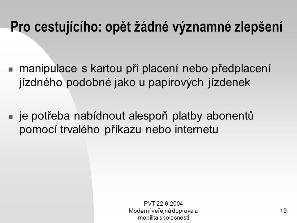 PVT 22.6.2004 Moderní veřejná doprava a mobilita společnosti 19 Pro cestujícího: opět žádné významné zlepšení manipulace s kartou při placení nebo pře