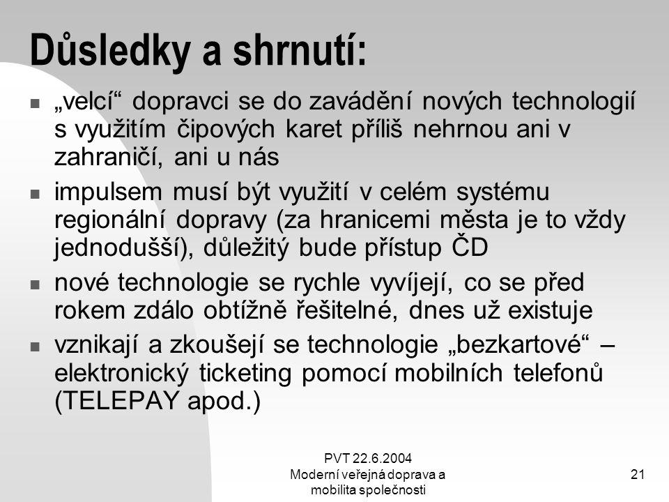 """PVT 22.6.2004 Moderní veřejná doprava a mobilita společnosti 21 Důsledky a shrnutí: """"velcí"""" dopravci se do zavádění nových technologií s využitím čipo"""