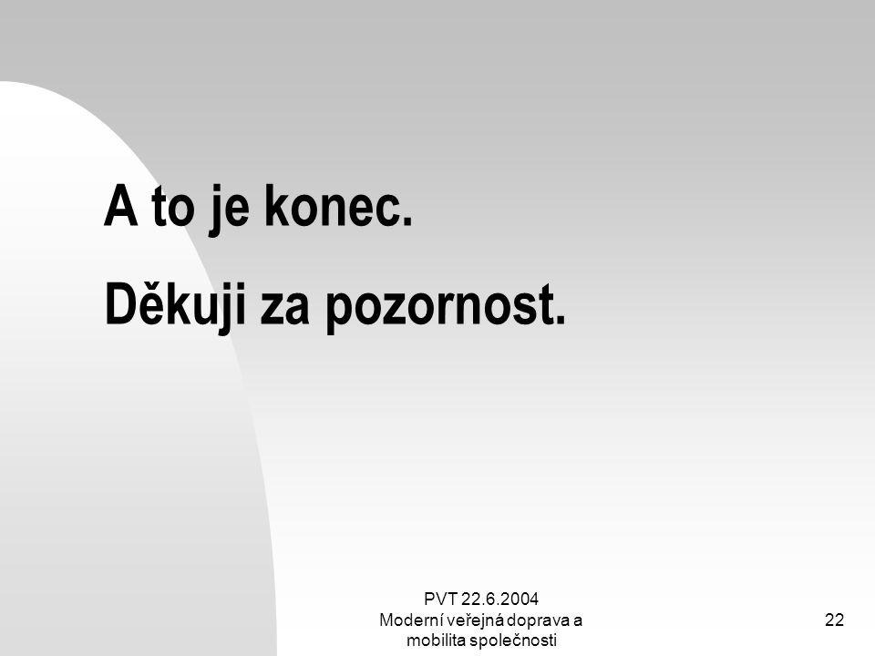 PVT 22.6.2004 Moderní veřejná doprava a mobilita společnosti 22 A to je konec. Děkuji za pozornost.