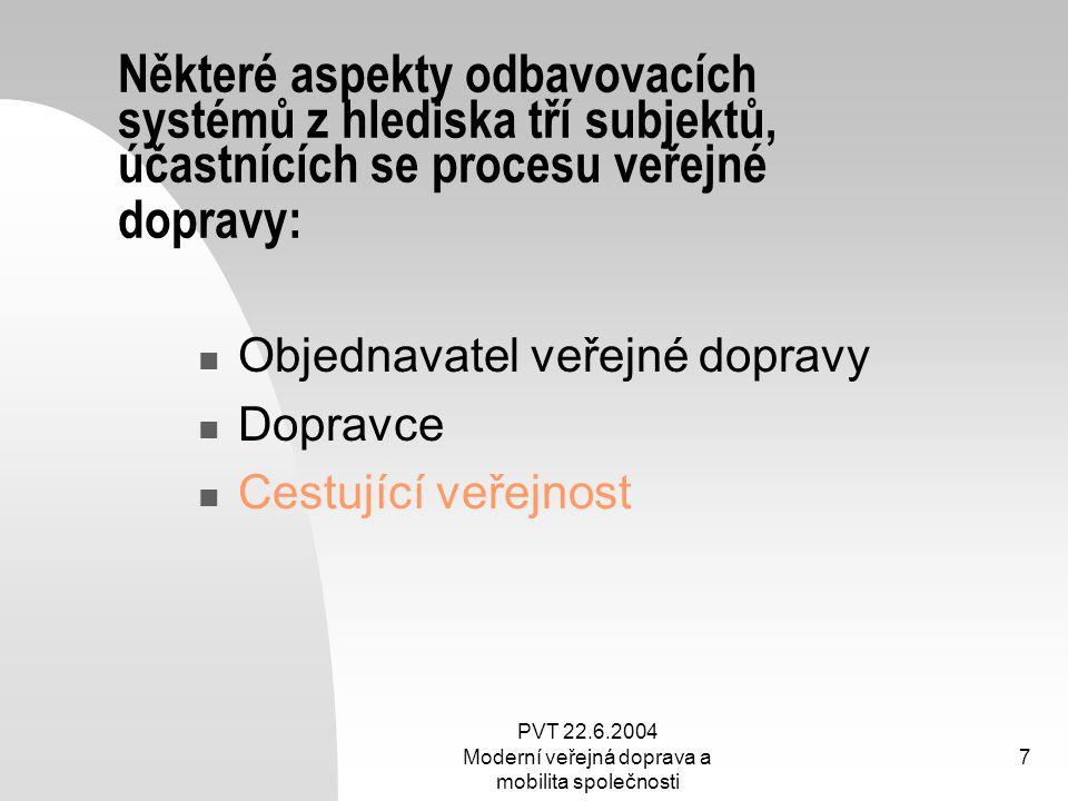 PVT 22.6.2004 Moderní veřejná doprava a mobilita společnosti 7 Některé aspekty odbavovacích systémů z hlediska tří subjektů, účastnících se procesu ve