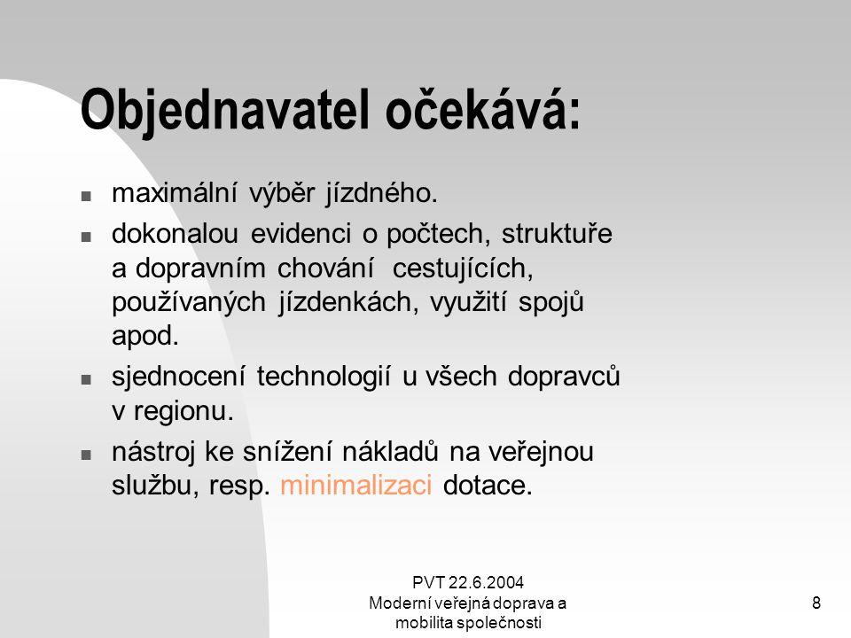 PVT 22.6.2004 Moderní veřejná doprava a mobilita společnosti 8 Objednavatel očekává: maximální výběr jízdného. dokonalou evidenci o počtech, struktuře