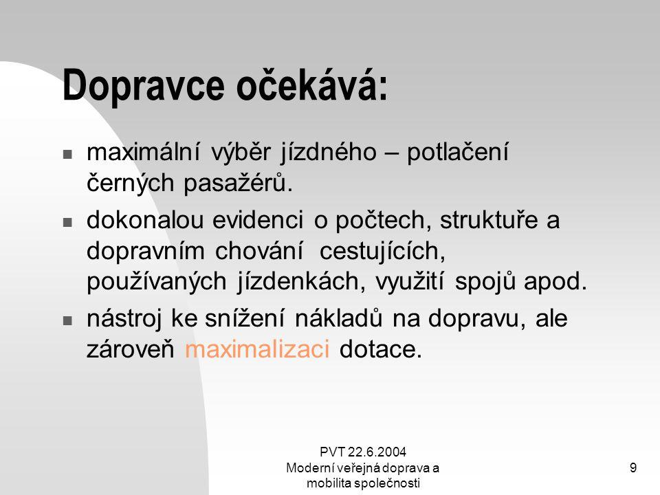 PVT 22.6.2004 Moderní veřejná doprava a mobilita společnosti 9 Dopravce očekává: maximální výběr jízdného – potlačení černých pasažérů. dokonalou evid