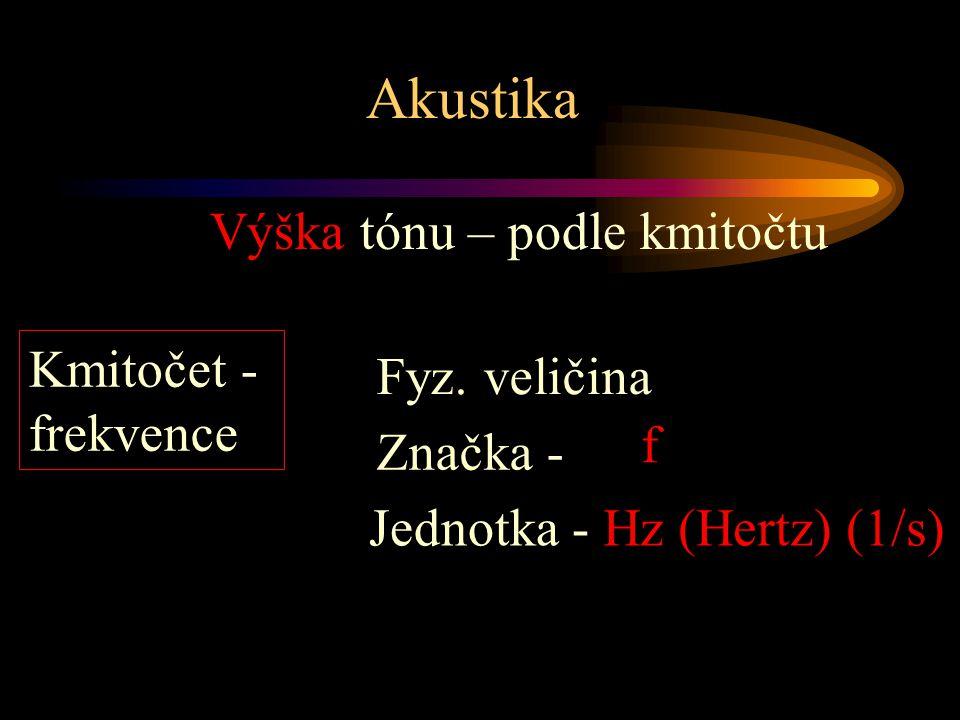 Akustika Výška tónu – podle kmitočtu Hz (Hertz) (1/s) Kmitočet - frekvence Jednotka - Značka - f Fyz.