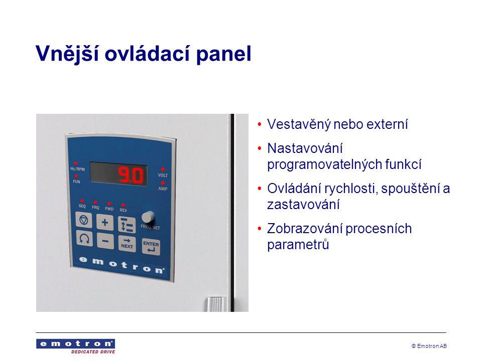 © Emotron AB Vnější ovládací panel Vestavěný nebo externí Nastavování programovatelných funkcí Ovládání rychlosti, spouštění a zastavování Zobrazování procesních parametrů