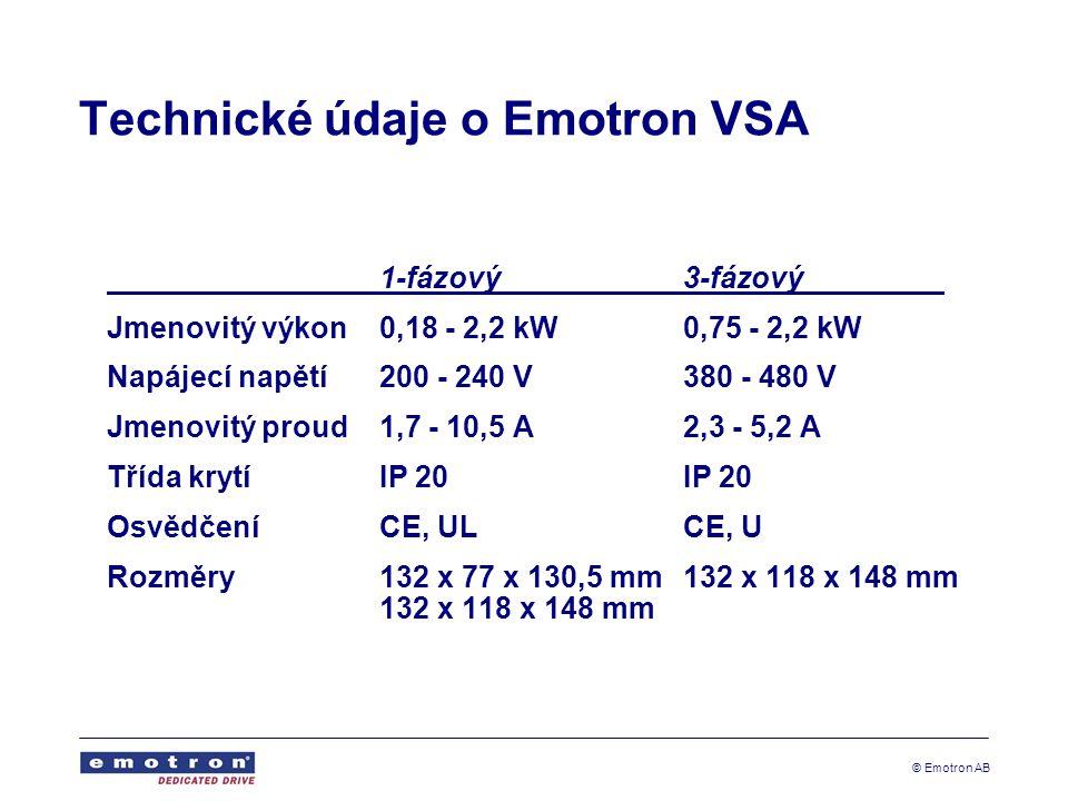 © Emotron AB Technické údaje o Emotron VSA 1-fázový3-fázový Jmenovitý výkon0,18 - 2,2 kW0,75 - 2,2 kW Napájecí napětí200 - 240 V 380 - 480 V Jmenovitý proud1,7 - 10,5 A2,3 - 5,2 A Třída krytíIP 20IP 20 Osvědčení CE, ULCE, U Rozměry132 x 77 x 130,5 mm132 x 118 x 148 mm 132 x 118 x 148 mm