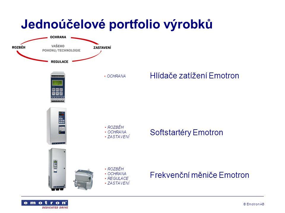 © Emotron AB Jednoúčelové portfolio výrobků Hlídače zatížení Emotron Softstartéry Emotron Frekvenční měniče Emotron OCHRANA ROZBĚH OCHRANA ZASTAVENÍ ROZBĚH OCHRANA REGULACE ZASTAVENÍ