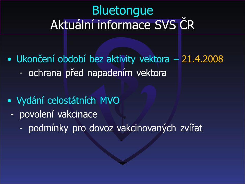Bluetongue Laboratorní vyšetření vzorků NRL pro bluetongue SVÚ Jihlava SVÚ Praha SVÚ Olomouc sérologické vyšetření vzorků virologické vyšetření vzorků
