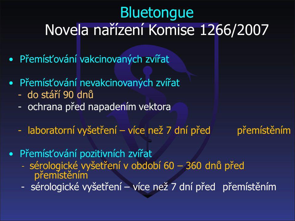 Bluetongue Legislativní rámec Nařízení Komise (ES) č.1266/2007 ze dne 26. 10. 2007, o prováděcích předpisech ke směrnici Rady 2000/75/ES, co se týče t
