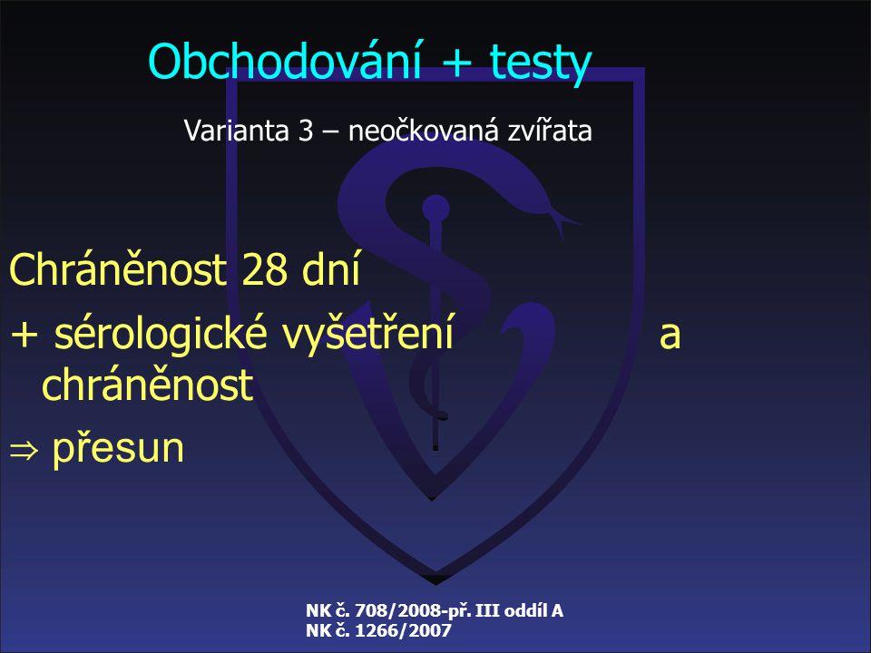 NK č. 708/2008-př. III oddíl A NK č. 1266/2007 Obchodování + testy Varianta 2 – neočkovaná zvířata Chráněnost minimálně 60 dní ⇒ přesun /tento způsob