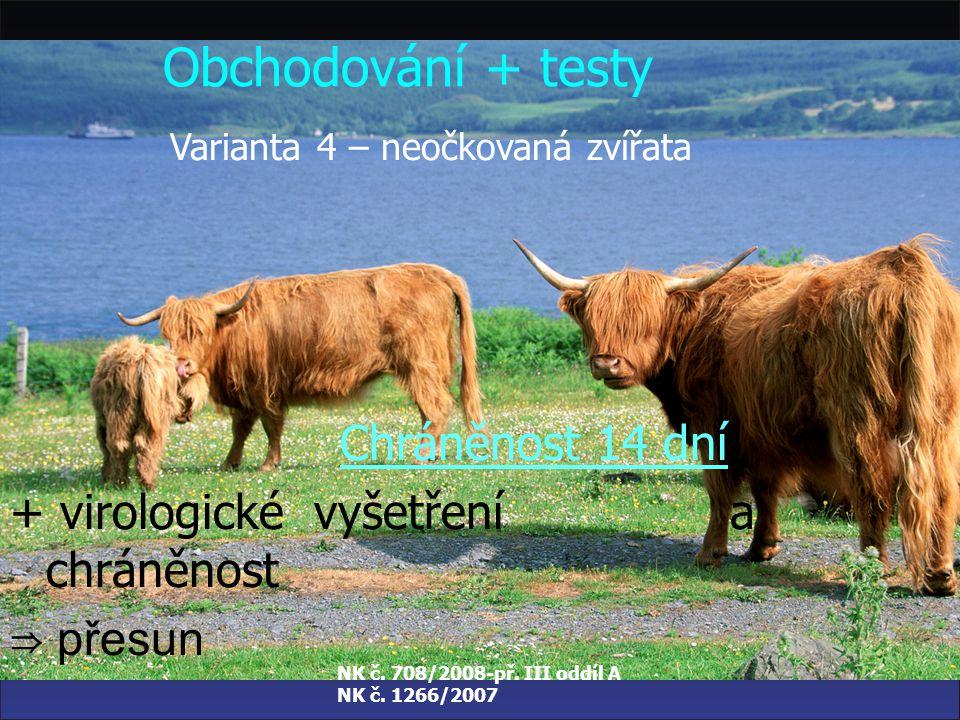 NK č. 708/2008-př. III oddíl A NK č. 1266/2007 Obchodování + testy Varianta 3 – neočkovaná zvířata Chráněnost 28 dní + sérologické vyšetření a chráněn