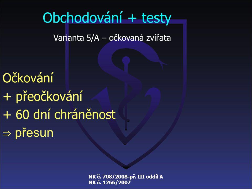 NK č. 708/2008-př. III oddíl A NK č. 1266/2007 Obchodování + testy Varianta 4 – neočkovaná zvířata Chráněnost 14 dní + virologické vyšetření a chráněn