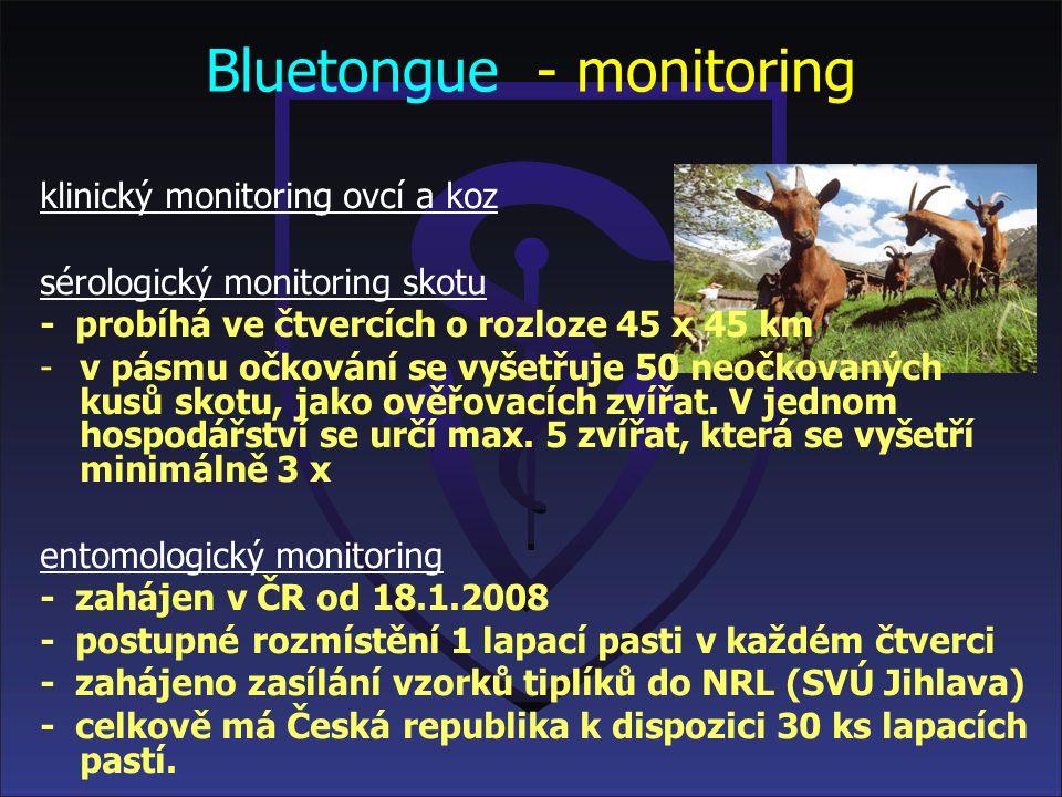 Bluetongue Aktuální nákazová situace v České republice k 30. 7. 2008 mapa a seznam krajů v uzavřeném pásmu (od výskytu posledního pozitívního případu
