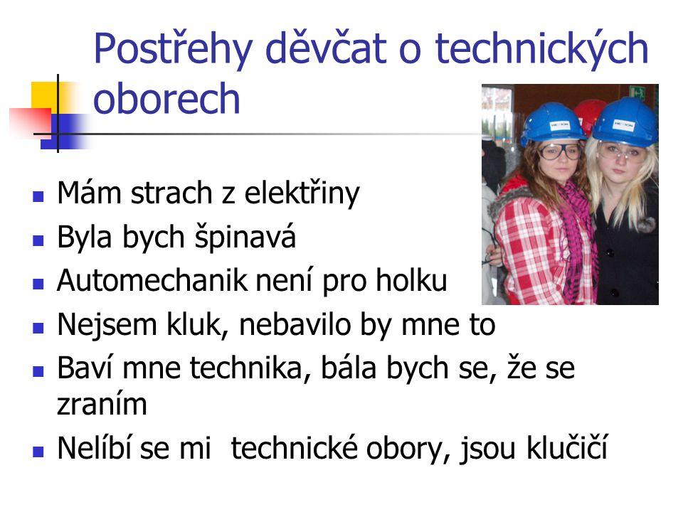 Postřehy děvčat o technických oborech Mám strach z elektřiny Byla bych špinavá Automechanik není pro holku Nejsem kluk, nebavilo by mne to Baví mne technika, bála bych se, že se zraním Nelíbí se mi technické obory, jsou klučičí