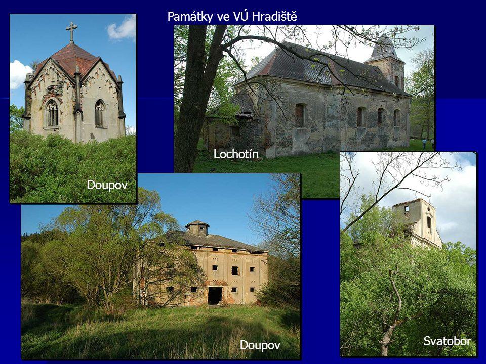 Památky ve VÚ Hradiště Svatobor Lochotín Doupov