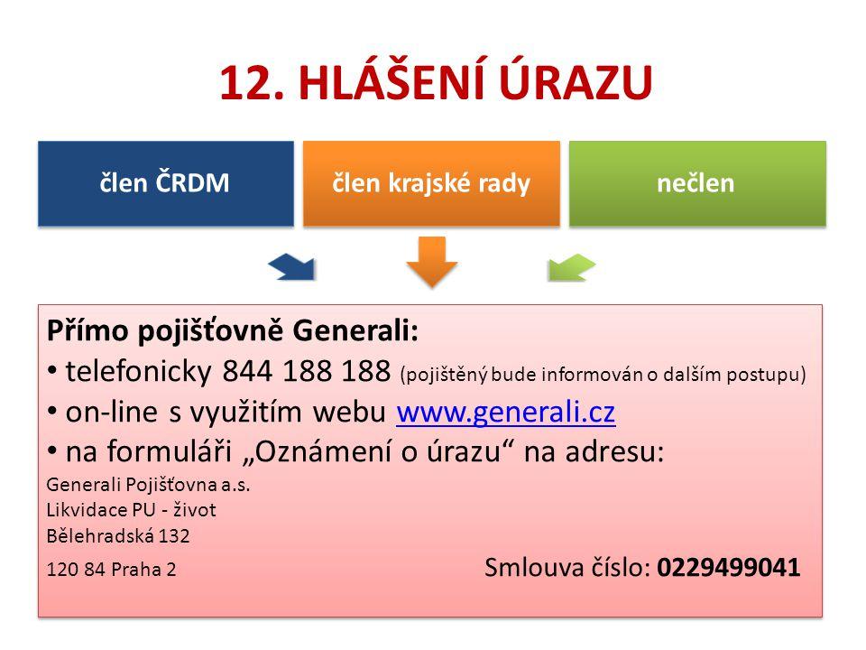 12. HLÁŠENÍ ÚRAZU Přímo pojišťovně Generali: telefonicky 844 188 188 (pojištěný bude informován o dalším postupu) on-line s využitím webu www.generali