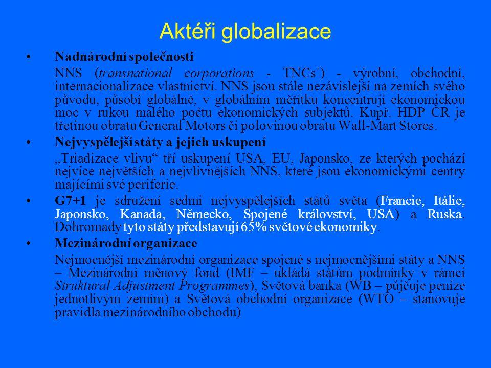 Aktéři globalizace Nadnárodní společnosti NNS (transnational corporations - TNCs´) - výrobní, obchodní, internacionalizace vlastnictví.