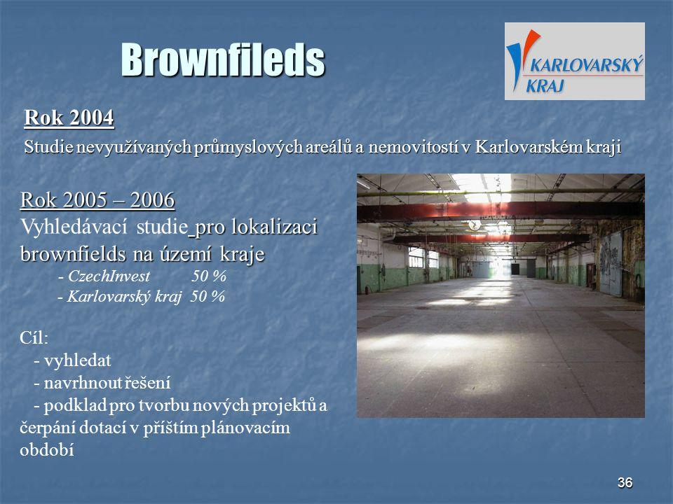 36 Brownfileds Rok 2004 Studie nevyužívaných průmyslových areálů a nemovitostí v Karlovarském kraji Rok 2005 – 2006 pro lokalizaci brownfields na územ