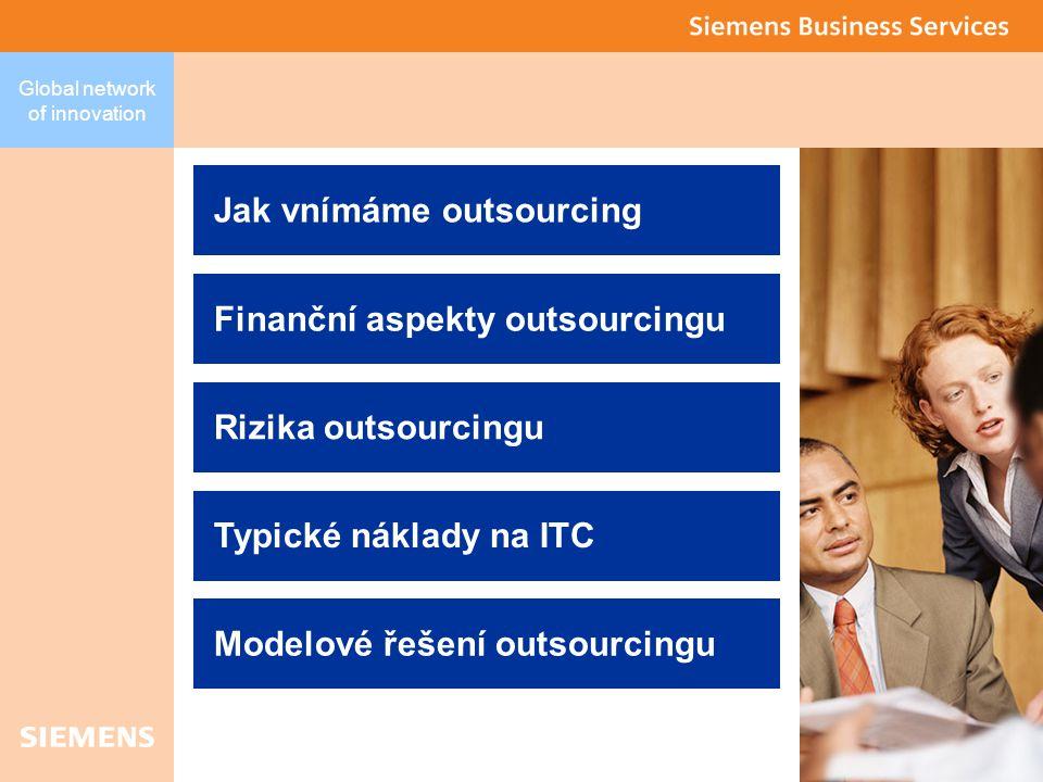 2 Global network of innovation Typické náklady na ITC Jak vnímáme outsourcing Finanční aspekty outsourcingu Rizika outsourcingu Modelové řešení outsourcingu