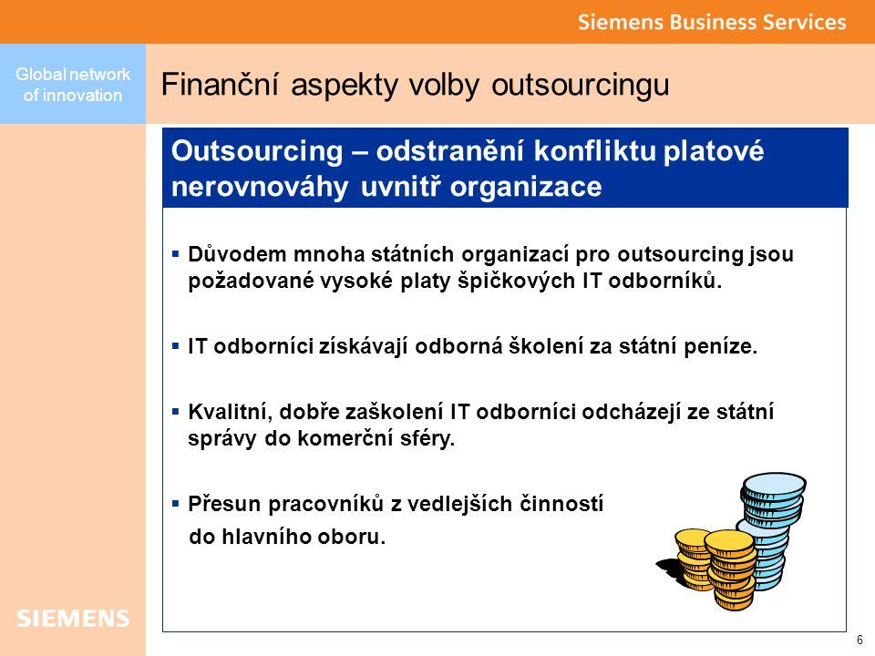 6 Global network of innovation Finanční aspekty volby outsourcingu  Důvodem mnoha státních organizací pro outsourcing jsou požadované vysoké platy špičkových IT odborníků.