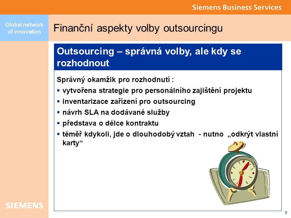 """9 Global network of innovation Finanční aspekty volby outsourcingu Správný okamžik pro rozhodnutí :  vytvořena strategie pro personálního zajištění projektu  inventarizace zařízení pro outsourcing  návrh SLA na dodávané služby  představa o délce kontraktu  téměř kdykoli, jde o dlouhodobý vztah - nutno """"odkrýt vlastní karty Outsourcing – správná volby, ale kdy se rozhodnout"""