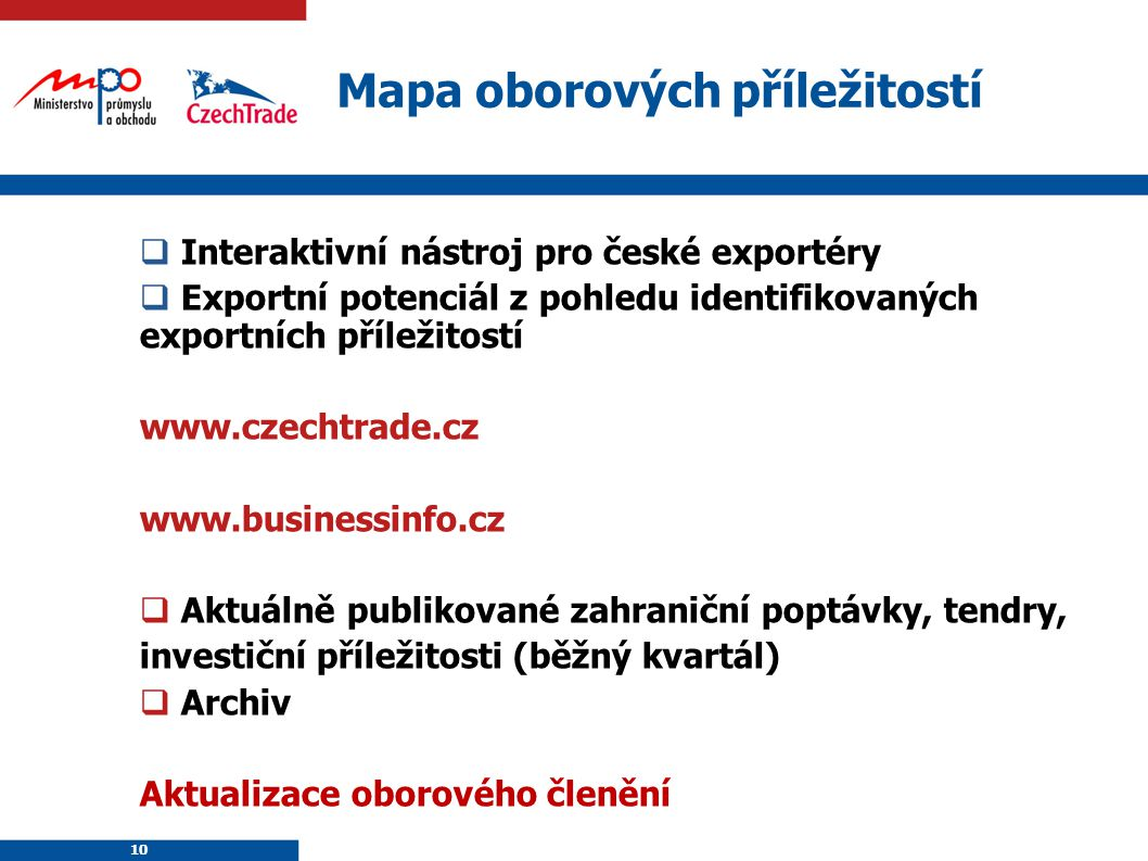 10 Mapa oborových příležitostí  Interaktivní nástroj pro české exportéry  Exportní potenciál z pohledu identifikovaných exportních příležitostí www.