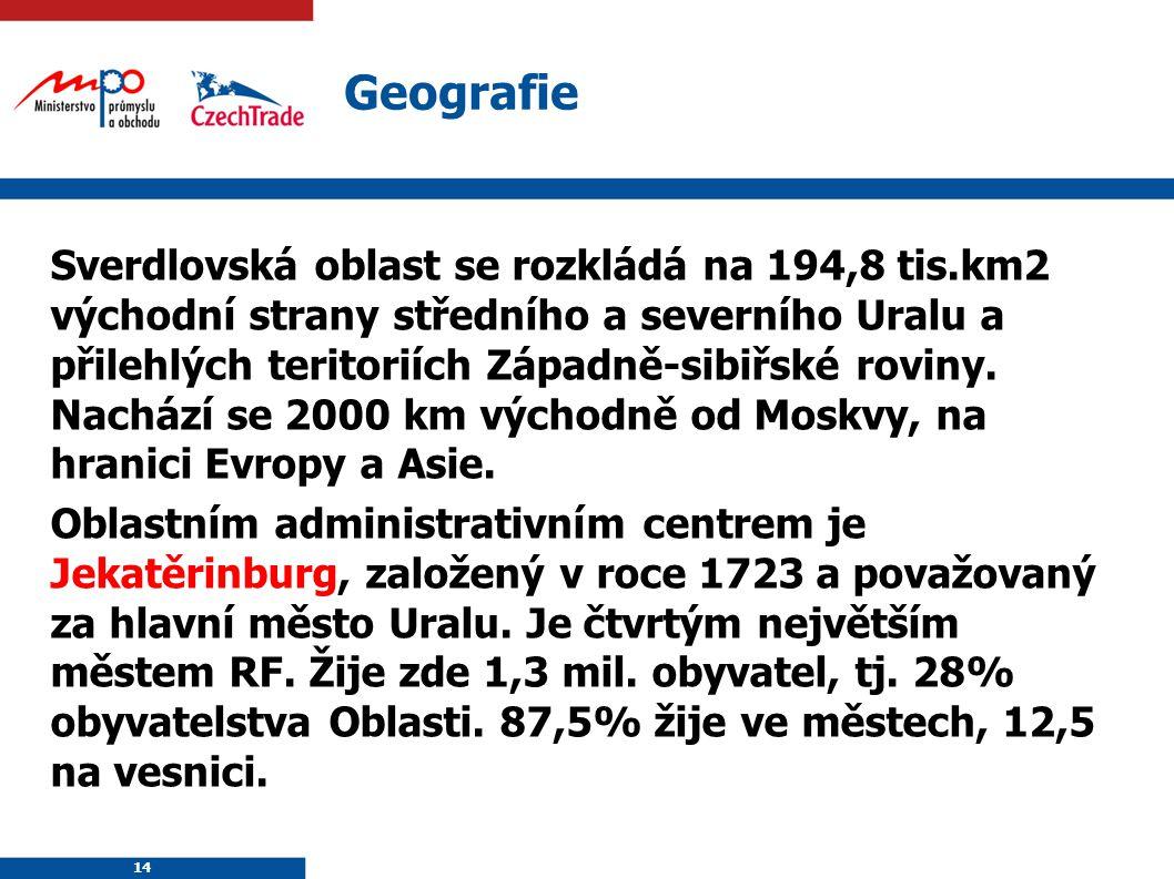 14 Geografie Sverdlovská oblast se rozkládá na 194,8 tis.km2 východní strany středního a severního Uralu a přilehlých teritoriích Západně-sibiřské rov