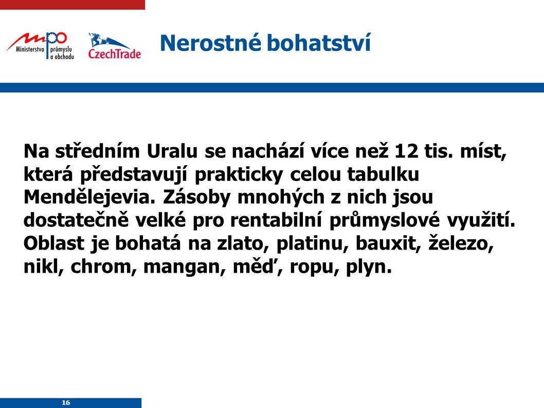 16 Nerostné bohatství Na středním Uralu se nachází více než 12 tis. míst, která představují prakticky celou tabulku Mendělejevia. Zásoby mnohých z nic