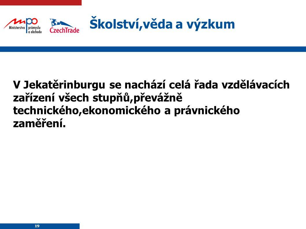 19 Školství,věda a výzkum V Jekatěrinburgu se nachází celá řada vzdělávacích zařízení všech stupňů,převážně technického,ekonomického a právnického zam
