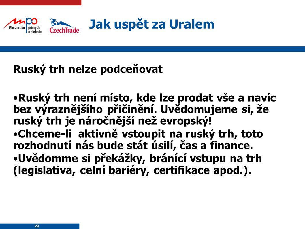 22 Jak uspět za Uralem Ruský trh nelze podceňovat Ruský trh není místo, kde lze prodat vše a navíc bez výraznějšího přičinění. Uvědomujeme si, že rusk