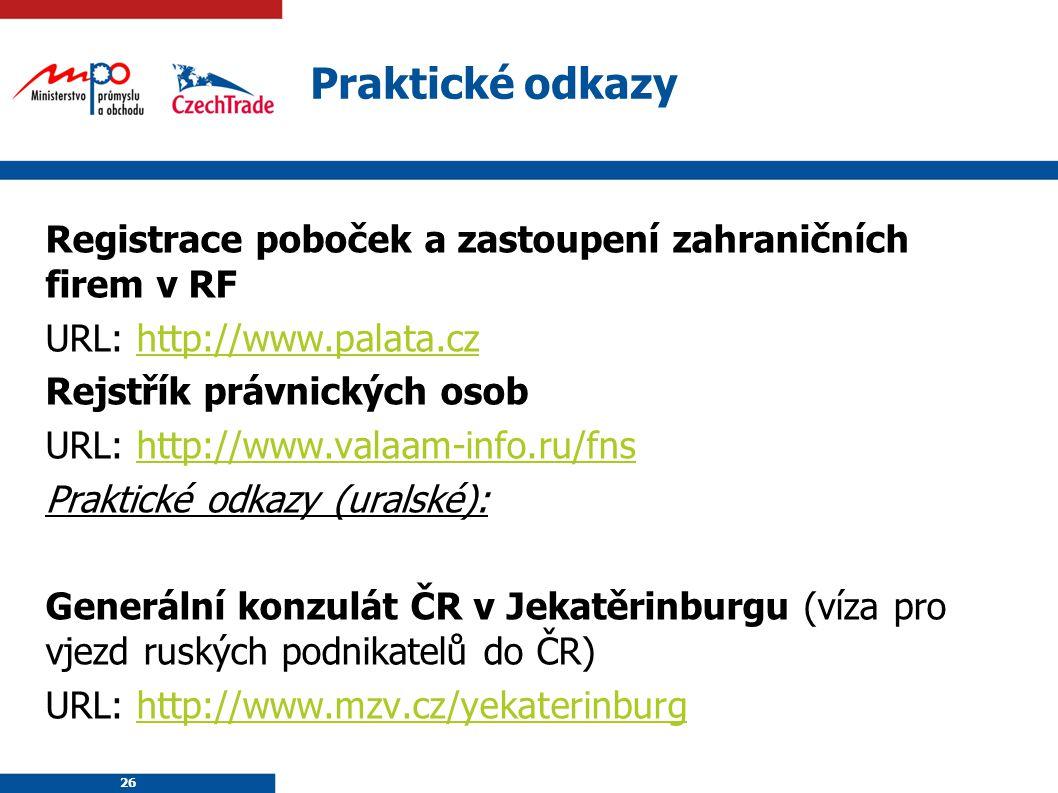 26 Praktické odkazy Registrace poboček a zastoupení zahraničních firem v RF URL: http://www.palata.czhttp://www.palata.cz Rejstřík právnických osob UR