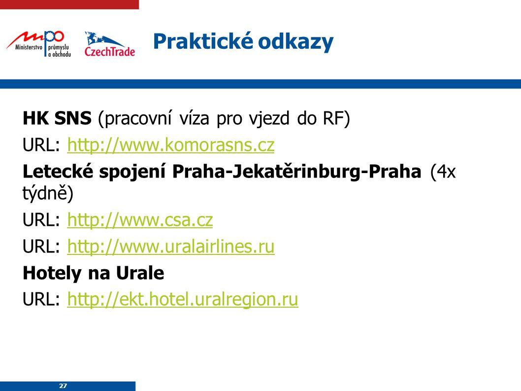 27 Praktické odkazy HK SNS (pracovní víza pro vjezd do RF) URL: http://www.komorasns.czhttp://www.komorasns.cz Letecké spojení Praha-Jekatěrinburg-Pra