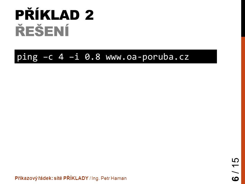 PŘÍKLAD 2 ŘEŠENÍ Příkazový řádek: sítě PŘÍKLADY / Ing.