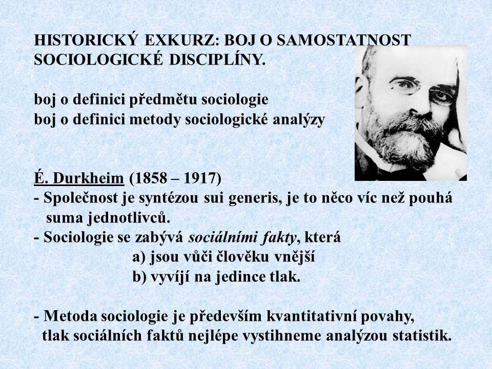 HISTORICKÝ EXKURZ: BOJ O SAMOSTATNOST SOCIOLOGICKÉ DISCIPLÍNY. boj o definici předmětu sociologie boj o definici metody sociologické analýzy É. Durkhe