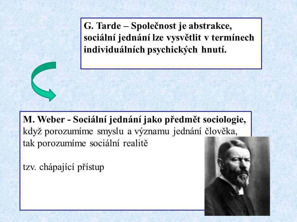 G. Tarde – Společnost je abstrakce, sociální jednání lze vysvětlit v termínech individuálních psychických hnutí. M. Weber - Sociální jednání jako před