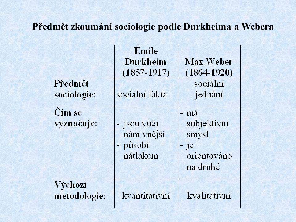 Předmět zkoumání sociologie podle Durkheima a Webera