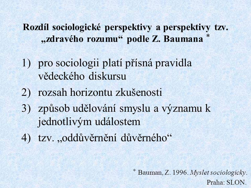 "Rozdíl sociologické perspektivy a perspektivy tzv. ""zdravého rozumu"" podle Z. Baumana  1)pro sociologii platí přísná pravidla vědeckého diskursu 2)ro"
