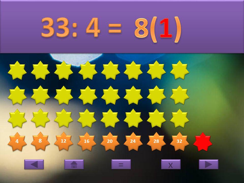 4 4 8 8 12 16 20 24 28 32 x x = =