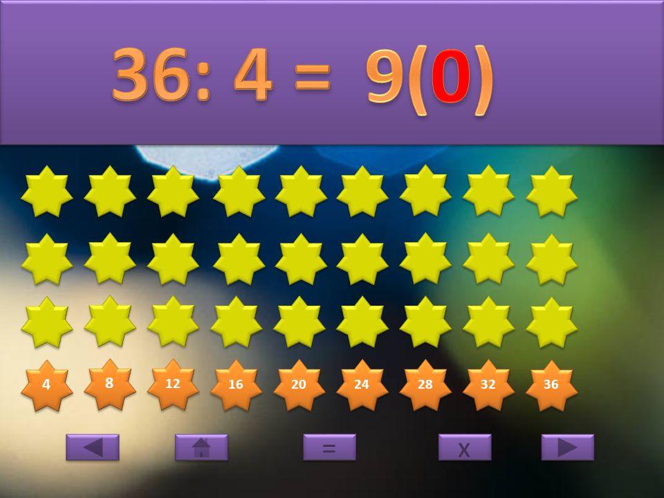 4 4 8 8 12 16 20 24 28 32 36 x x = =