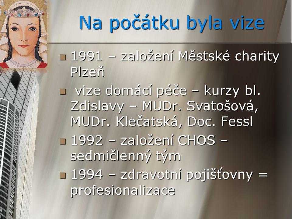 Na počátku byla vize 1991 – založení Městské charity Plzeň 1991 – založení Městské charity Plzeň vize domácí péče – kurzy bl. Zdislavy – MUDr. Svatošo