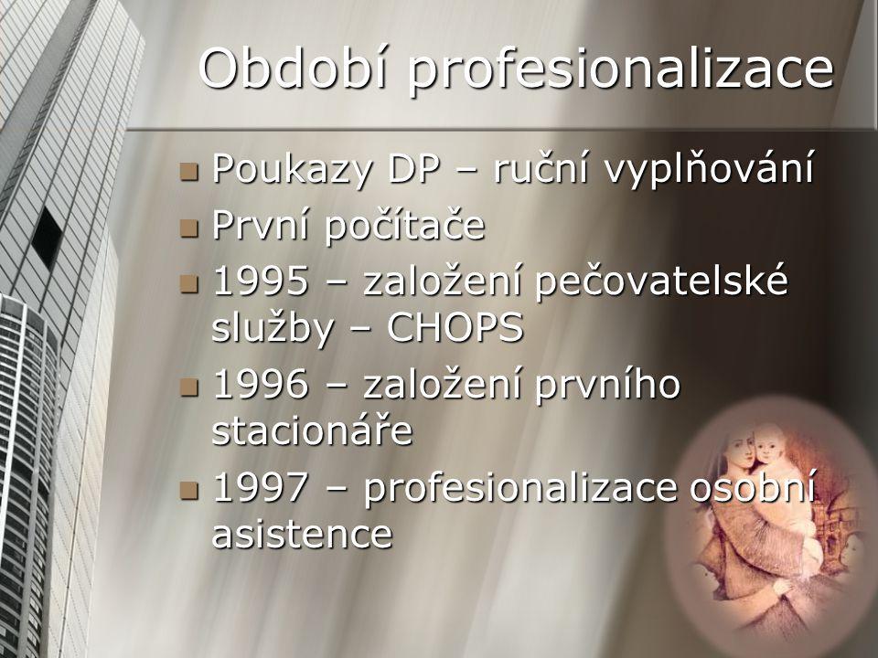 Období profesionalizace Poukazy DP – ruční vyplňování Poukazy DP – ruční vyplňování První počítače První počítače 1995 – založení pečovatelské služby