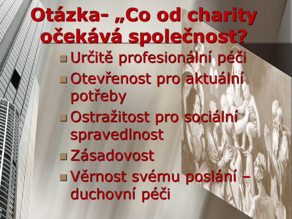 """Otázka- """"Co od charity očekává společnost? Určitě profesionální péči Určitě profesionální péči Otevřenost pro aktuální potřeby Otevřenost pro aktuální"""