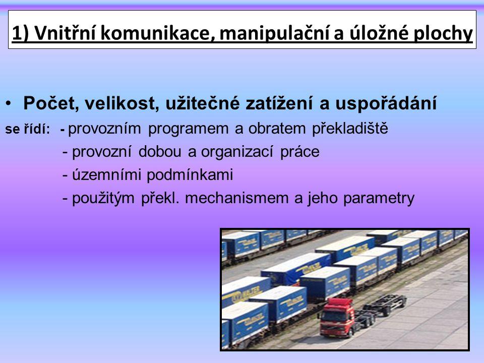1) Vnitřní komunikace, manipulační a úložné plochy Počet, velikost, užitečné zatížení a uspořádání se řídí: - provozním programem a obratem překladiště - provozní dobou a organizací práce - územními podmínkami - použitým překl.