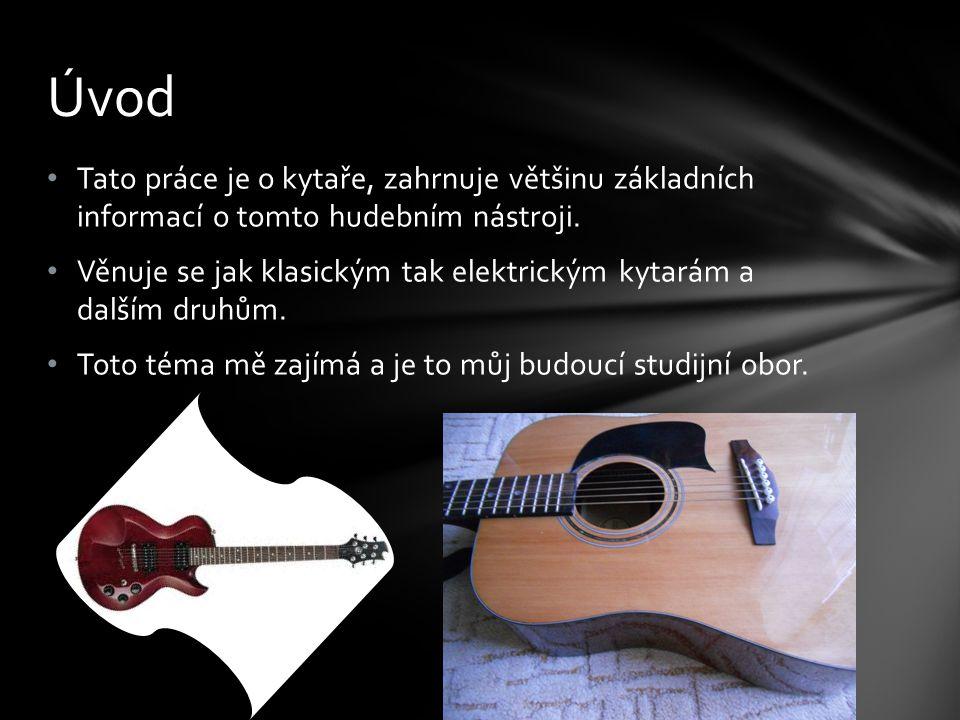 Tato práce je o kytaře, zahrnuje většinu základních informací o tomto hudebním nástroji. Věnuje se jak klasickým tak elektrickým kytarám a dalším druh