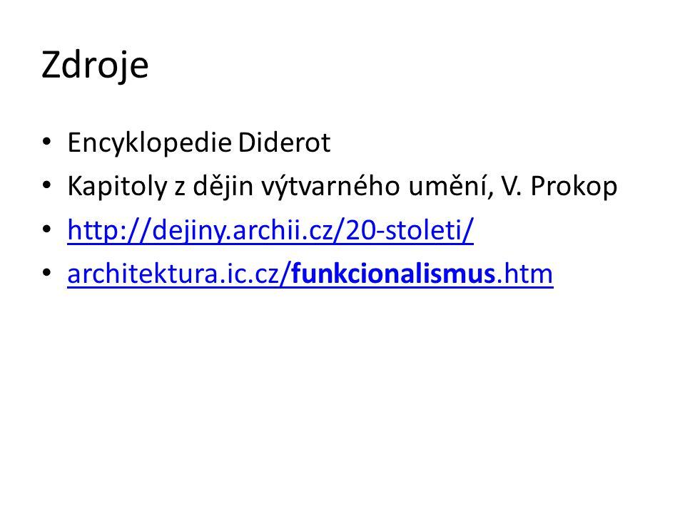 Zdroje Encyklopedie Diderot Kapitoly z dějin výtvarného umění, V. Prokop http://dejiny.archii.cz/20-stoleti/ architektura.ic.cz/funkcionalismus.htm ar