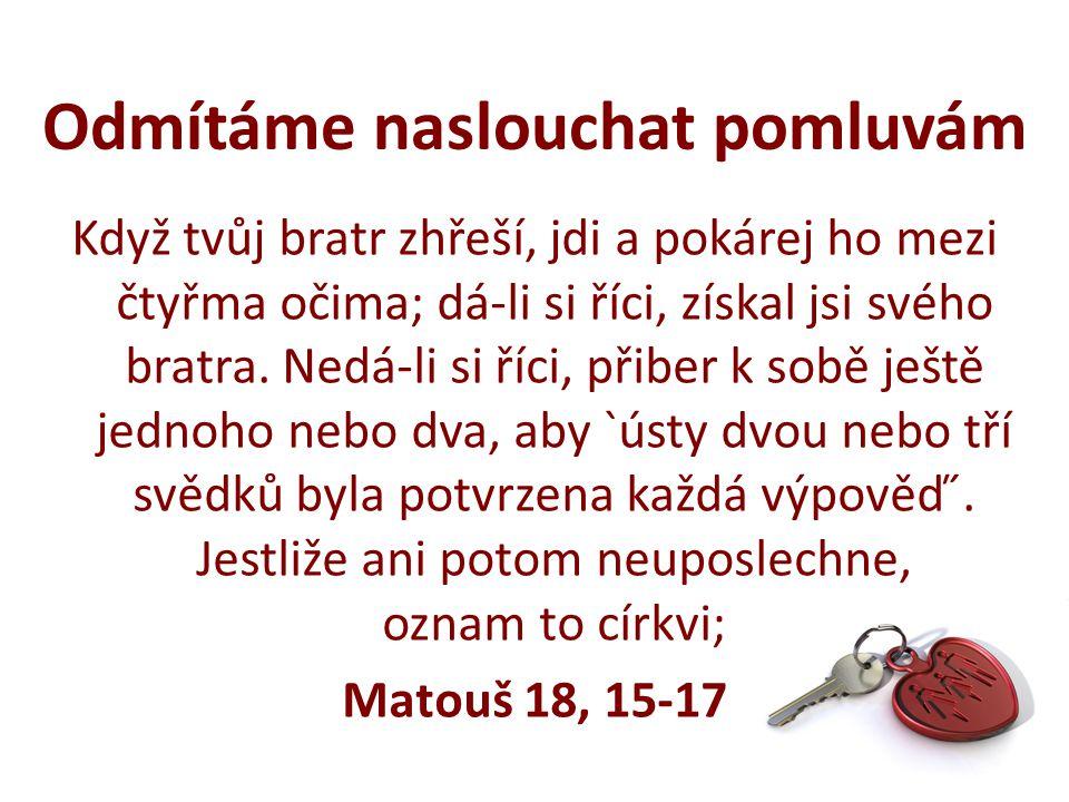 Když tvůj bratr zhřeší, jdi a pokárej ho mezi čtyřma očima; dá-li si říci, získal jsi svého bratra.