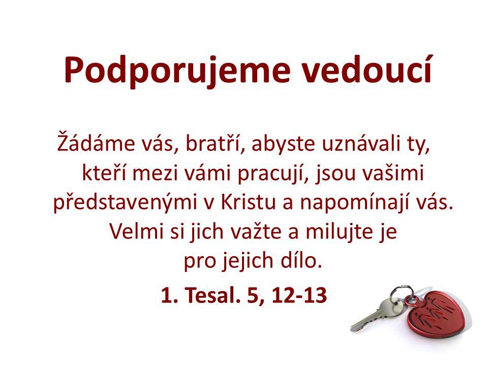 Žádáme vás, bratří, abyste uznávali ty, kteří mezi vámi pracují, jsou vašimi představenými v Kristu a napomínají vás.