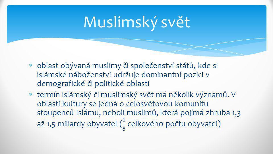 Celosvětová muslimská komunita se také souhrnně nazývá umma.